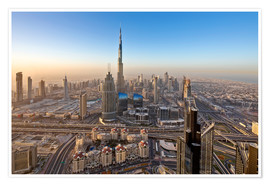 Premium poster  Sunrise at Dubai City - Dieter Meyrl