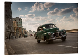 Acrylic glass  Cuban american car driving through Havana, Cuba. - Alex Saberi