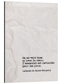 Aluminium print  You only see well with your heart (French) - Typobox