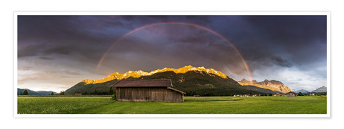 Premium poster Rainbow and alpenglow in the Karwendel