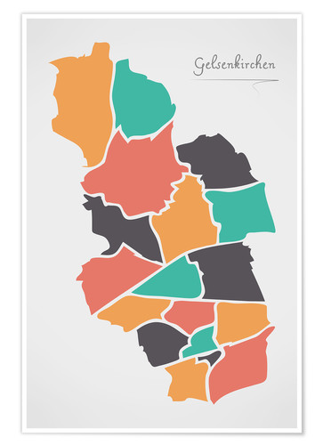 Premium poster Gelsenkirchen city map modern abstract with round shapes
