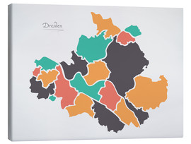 Canvas print  Dresden city map modern abstract with round shapes - Ingo Menhard
