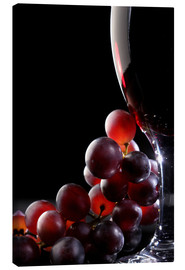 Canvas print  Red grapes and glass of wine - Johan Swanepoel