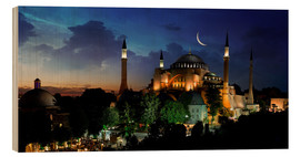 Wood print  View of Hagia Sophia after sunset