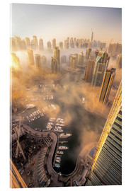 Acrylic print  Dubai Marina covered in early morning fog
