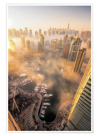 Poster  Dubai Marina covered in early morning fog