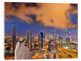 Acrylic print  Arab man looks over Dubai
