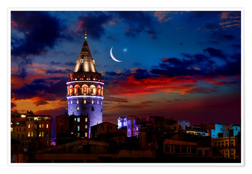 Premium poster Illuminated Galata Tower