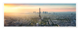 Premium poster  Paris skyline with Eiffel tower at sunset - Jan Christopher Becke