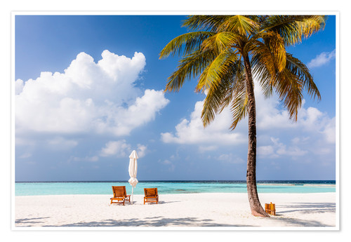 Premium poster Beach with chairs and umbrella, Maldives