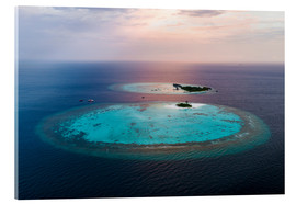 Acrylic glass  Islands at sunset in the Maldives - Matteo Colombo