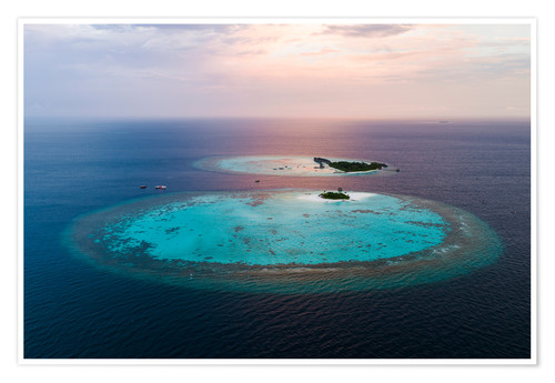 Premium poster Islands at sunset in the Maldives