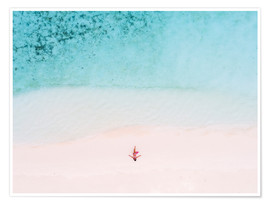 Premium poster  Drone view of woman on the beach, Maldives - Matteo Colombo