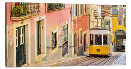 Canvas  Yellow tram in Lisbon's old town - Jörg Gamroth