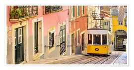 Poster Yellow tram in Lisbon's old town