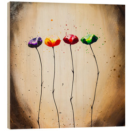 Wood print  four times flowering - Yannick Leniger