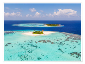 Premium poster  Aerial view of islands in the Maldives - Matteo Colombo