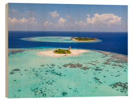Wood print  Aerial view of islands in the Maldives - Matteo Colombo