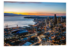 Foam board print  Seattle downtown and harbour at night, USA - Matteo Colombo