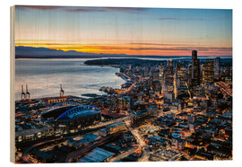 Wood print  Seattle downtown and harbour at night, USA - Matteo Colombo