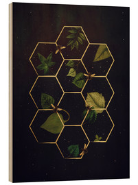 Wood print  bees in space - Sybille Sterk