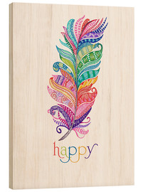 Wood print  Happy - MiaMia
