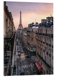 Acrylic glass  Street in Paris with Eiffel tower at sunset - Jan Christopher Becke