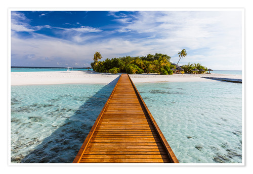 Jetty To Tropical Island, Maldives Posters And Prints
