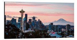 Alu-Dibond  Seattle panoramic with Mount Rainier, USA - Matteo Colombo