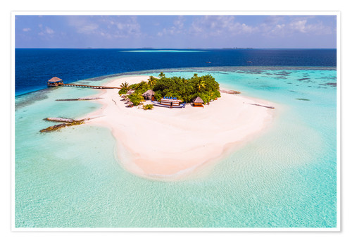 Premium poster Drone view of paradise island, Maldives