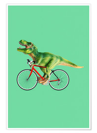 Premium poster  T-Rex riding a bike - Jonas Loose