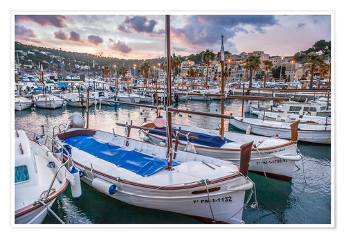 Premium poster Evening mood in the port of Port Soller (Mallorca)