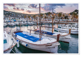 Premium poster  Evening mood in the port of Port Soller (Mallorca) - Christian Müringer