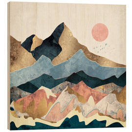 Wood print  Golden Peaks - SpaceFrog Designs
