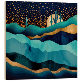Wood print  Indigo Desert Night - SpaceFrog Designs