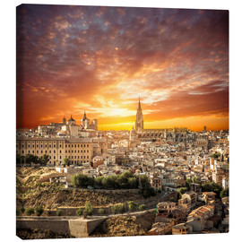 Canvas print  Toledo over sunset