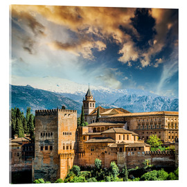 Acrylic print  View of the famous Alhambra