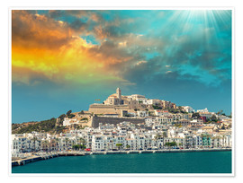 Premium poster Sunset over Ibiza