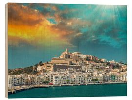 Wood print  Sunset over Ibiza