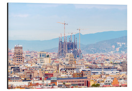 Aluminium print  Barcelona with the Cathedral of Gaudí