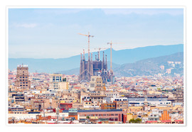 Premium poster  Barcelona with the Cathedral of Gaudí