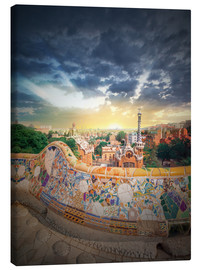 Canvas  The famous park Guell in Barcelona