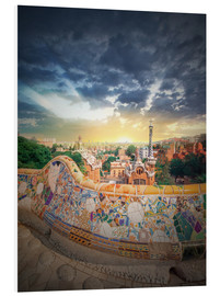 Foam board print  The famous park Guell in Barcelona