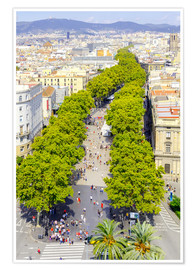 Premium poster  Barcelona and Las Ramblas with the Columbus Column