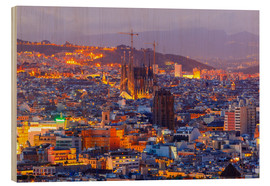 Wood print  Aerial view Barcelona