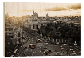 Wood print  The city of Madrid in Spain
