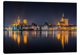 Canvas print  Skyline of Stralsund at night - Kristian Goretzki