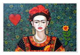 Premium poster  Frida, Queen of Hearts - Madalena Lobao-Tello