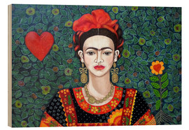 Wood print  Frida, Queen of Hearts - Madalena Lobao-Tello