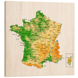 Wood print  Map of France
